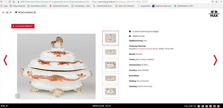 MAK-Sammlung online, Screenshot
